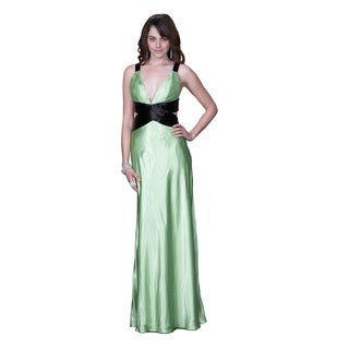 Women's Green Satin Cut-out Gown with Beaded Straps and Waistband