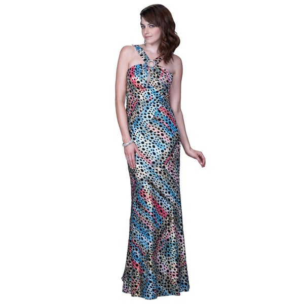 Women's Abstract Printed Open Back Gown with Keyhole Front