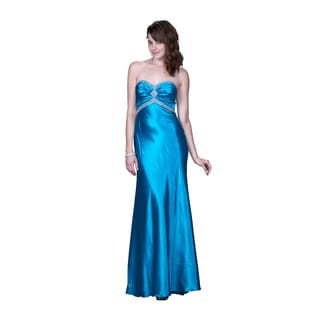 Women's Blue Satin Strapless Gown with Beaded Trim