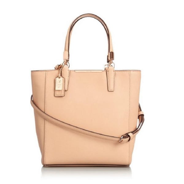 Coach Madison Saffiano North South Mini Tote Crossbody Bag Tan