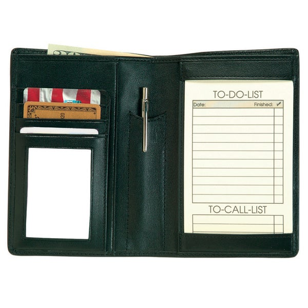 Genuine Leather Royce 'Things To Do' Note Jotter and Passport Travel Wallet