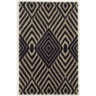 Rizzy Home Gillespie Avenue Black and Beige Hand-tufted Wool and Viscose Accent Rug (9' x 12')