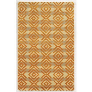 Rizzy Home Gillespie Avenue Beige and Orange Hand-tufted Wool and Viscose Accent Rug (8' x 10')