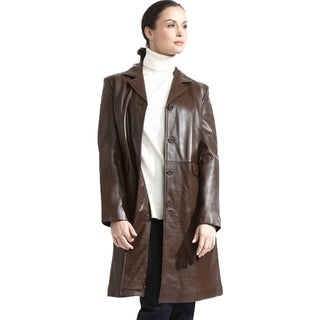Women's Caramel Lambskin Leather Button Front Coat with Zip-out Liner
