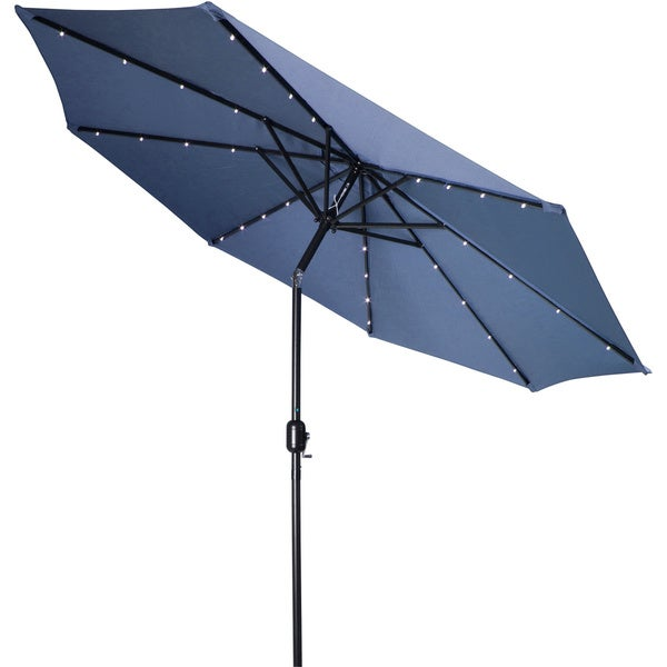 Blue Led Umbrella: 9-foot Deluxe Solar Powered LED Lighted Patio Umbrella By