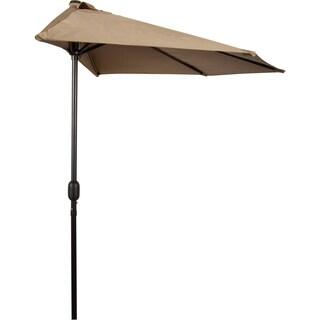 9' Patio Half Umbrella by Trademark Innovations (Tan)