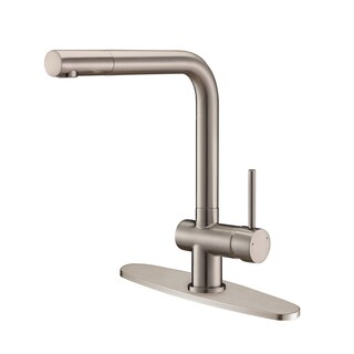 Ruvati RVF1235B1BN Single Handle Stainless Steel Kitchen Faucet with Deck Plate