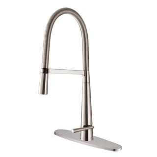 Ruvati RVF1225B1BN Pull-Down Stainless Steel Kitchen Faucet with Deck Plate
