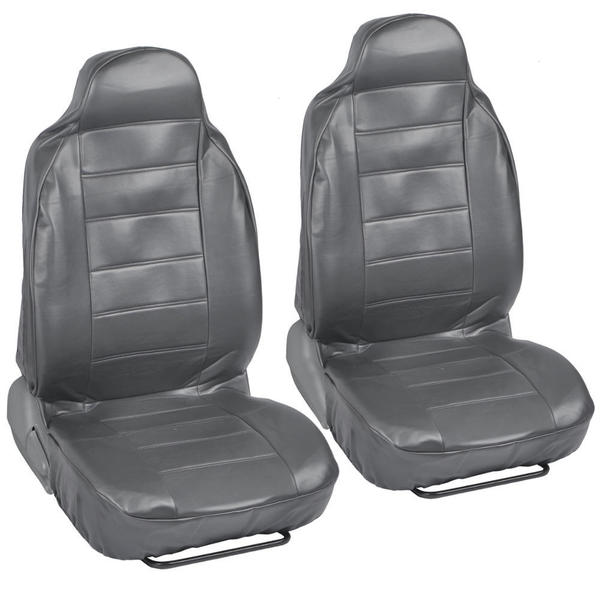 Deluxe PU Leather Front Car Grey Seat Covers