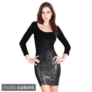 Nikibiki Women's Seamless Glitter 3/4 Sleeve Scoop Neck Dress