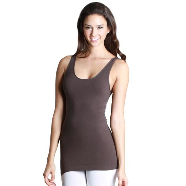 Nikibiki Women's Seamless Solid Grey Jersey Tank Top