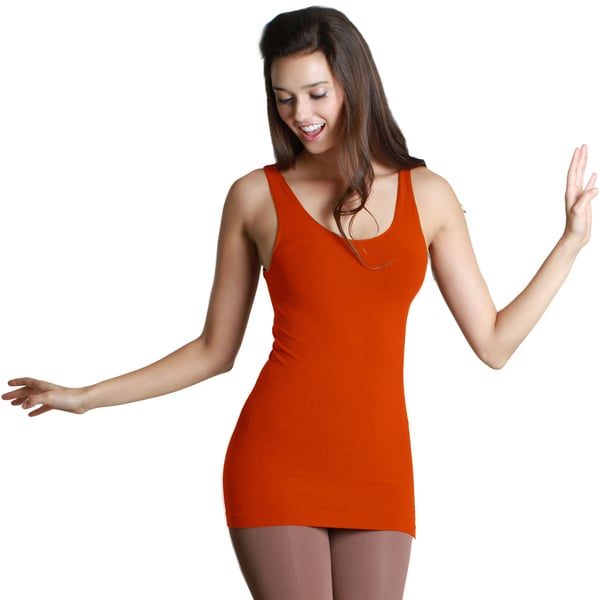 Nikibiki Women's Seamless Assorted Solid Orange Jersey Tank Top