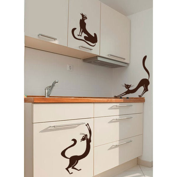 Cats Vinyl Sticker Wall Art (Set of 3)