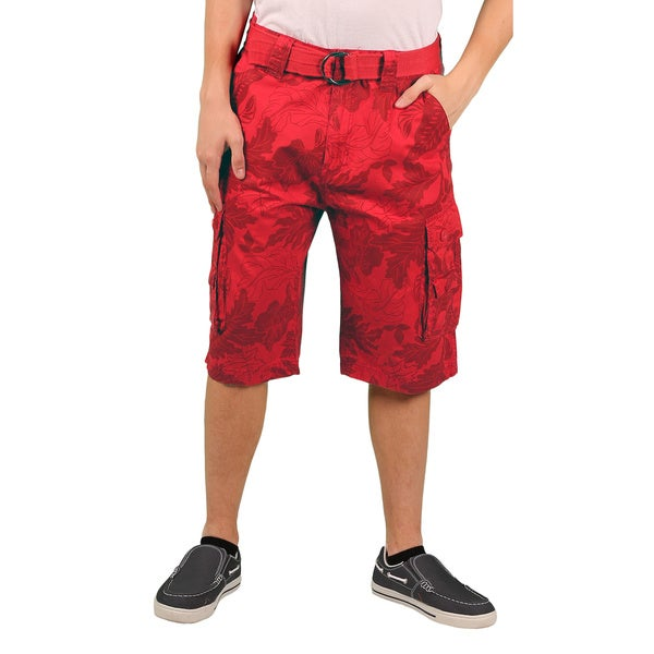 MO7 Men's Allover Foilage Print Cotton Cargo Short