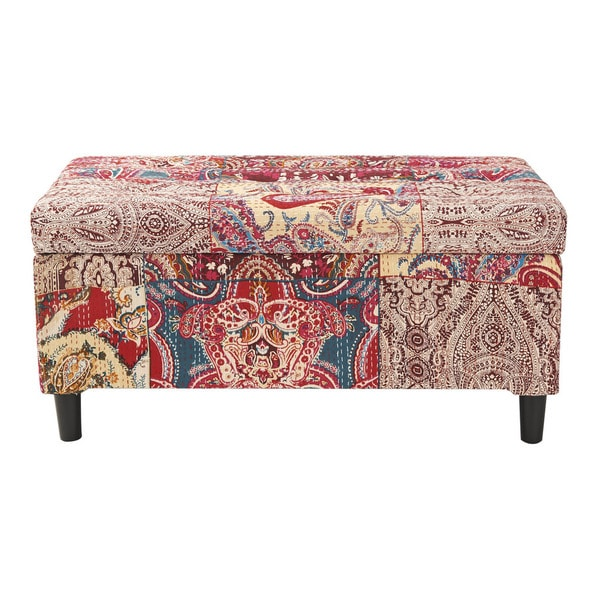 Jennifer Taylor Floral Print Upholstered Storage Bench