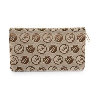 Chopard Caroline Brown Logo Cloth/ Leather Medium Wallet