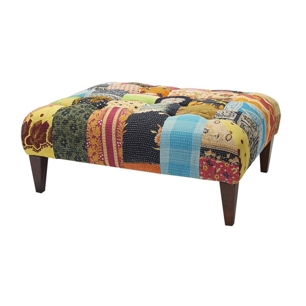 Jennifer Taylor Vintage Kantha Square Mutli-colored Upholstered Bench