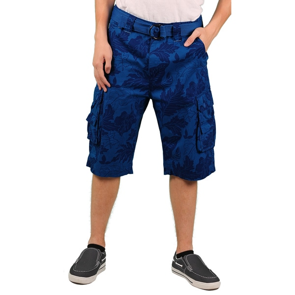 MO7 Men's Royal Blue Allover Foilage Print Cotton Cargo Short