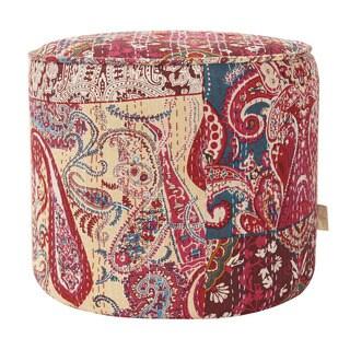Jennifer Taylor Bohemian Cotton Upholstered Paisley Round Ottoman