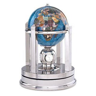 Galleon Marine Blue Gemstone Globe with Silver Rotating Base