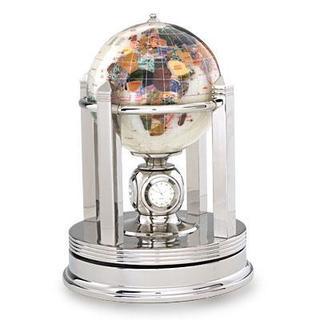 Galleon Opal Gemstone Silver Rotating Base Globe