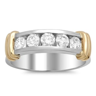 14k Gold Men's 1 1/4ct TDW Diamond Ring (E-F, VSI1-VS2)