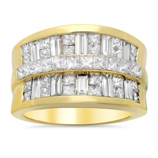 18k Yellow Gold 3 1/6ct TDW Diamond Ring (E-F, VS1-VS2)