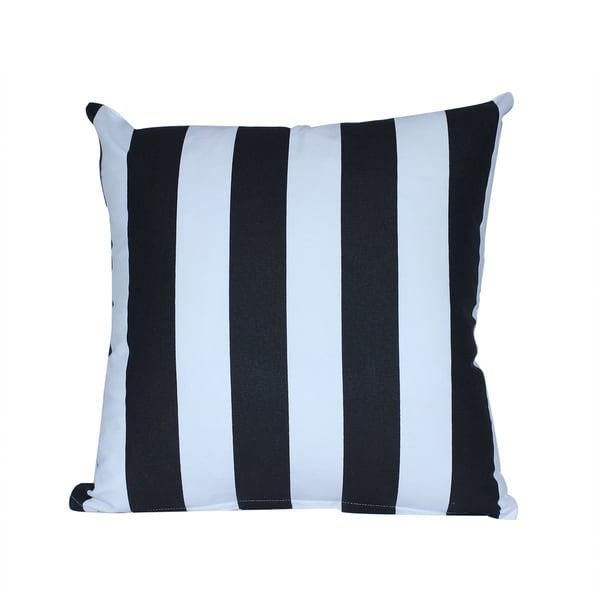 Cotton White/ Black Striped Throw Pillow