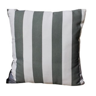 Cotton Grey/ White Stripe Printed Pillow with Polyester Insert