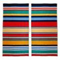 Superior Oversized Multi Stripes Jacquard Cotton Beach Towels (Set of 2)