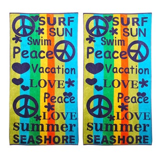 Superior Oversized Peace and Love Pattern Jacquard Cotton Beach Towels (Set of 2)