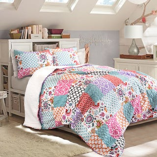 Lush Decor Brookdale 3-Piece Sherpa Quilt Set