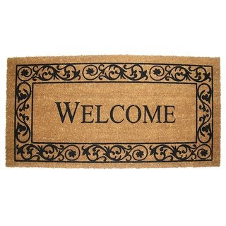"Vinyl Back Coco Wrought Iron Style Welcome Doormat (21"" x 41"")"