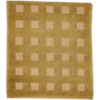 Herat Oriental Indo Hand-knotted Tibetan Green/ Beige Wool Rug (2' x 2')