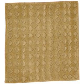 Herat Oriental Indo Hand-knotted Tibetan Green/ Light Green Wool Rug (2' x 2')