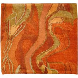Herat Oriental Indo Hand-knotted Tibetan Salmon/ Green Wool Rug (2' x 2')