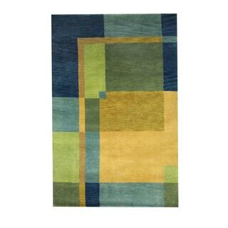 Herat Oriental Indo Hand-knotted Tribal Tibetan Yellow/ Blue Wool Rug (3'7 x 5'6)