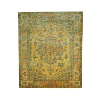 Herat Oriental Egyptian Hand-knotted Oushak Gold/ Beige Wool Rug (6' x 7'2)