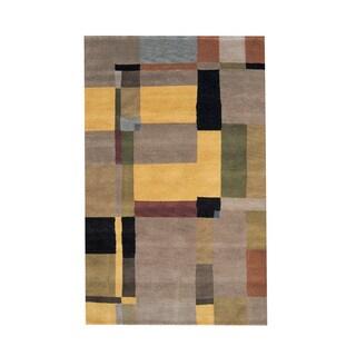 Herat Oriental Indo Hand-knotted Tribal Tibetan Light Brown/ Gold Wool Rug (5' x 8')