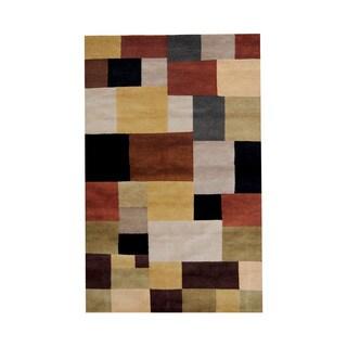 Herat Oriental Indo Hand-knotted Tribal Tibetan Beige/ Black Wool Rug (5' x 8')