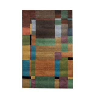 Herat Oriental Indo Hand-knotted Tribal Tibetan Beige/ Green Wool Rug (5' x 8')