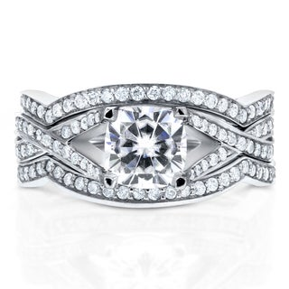 Annello 14k White Gold Cushion-cut Moissanite and 3/5ct TDW Diamond 3-piece Bridal Set Rings (G-H, I1-I2)