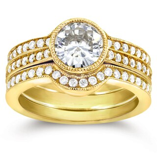 Annello 14k Yellow Gold Moissanite and 3/4ct TDW Diamond Bezel 3-Piece Bridal Rings Set (G-H, I1-I2)