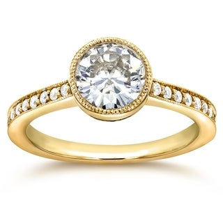 Annello 14k Yellow Gold Round-cut Moissanite and 1/4ct TDW Diamond Bezel Engagement Ring (G-H, I1-I2)