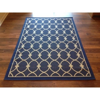 Indoor/Outdoor Beige Blue Area Rug Beige Blue (5'x8')
