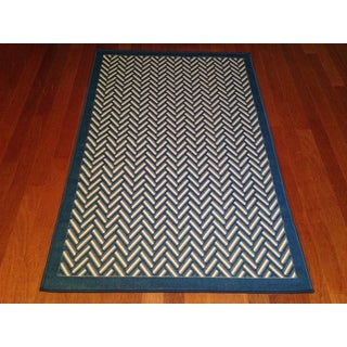 "Indoor/ Outdoor Blue Geometric Pool Patio Deck Area Rug (6'5""x 9'2"")"