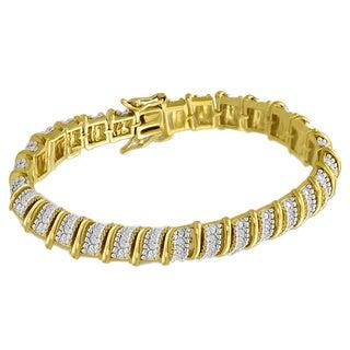 Two-tone Platinum-plated 1ct TDW Diamond Bracelet (J-K, I3)