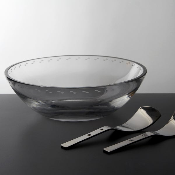 MarlaDawn Crystal Salad Bowl with Stainless Steel Servers