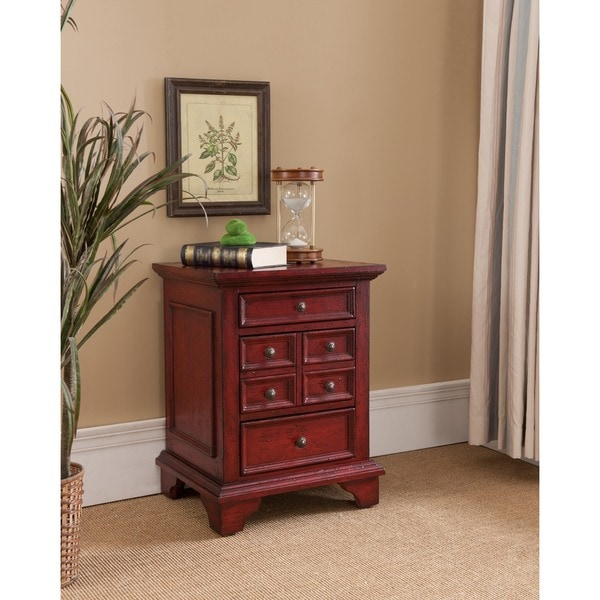 Treasure Trove Accents Lincoln Court Texture Red Three Drawer Chest