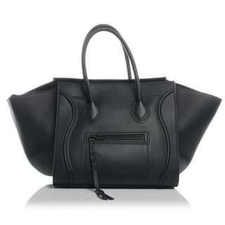 Celine 'Phantom' Black Grained Leather Medium Luggage Tote Bag